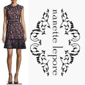 Lace Cap-Sleeve Dress, Nanette Navy/Savannah Rose